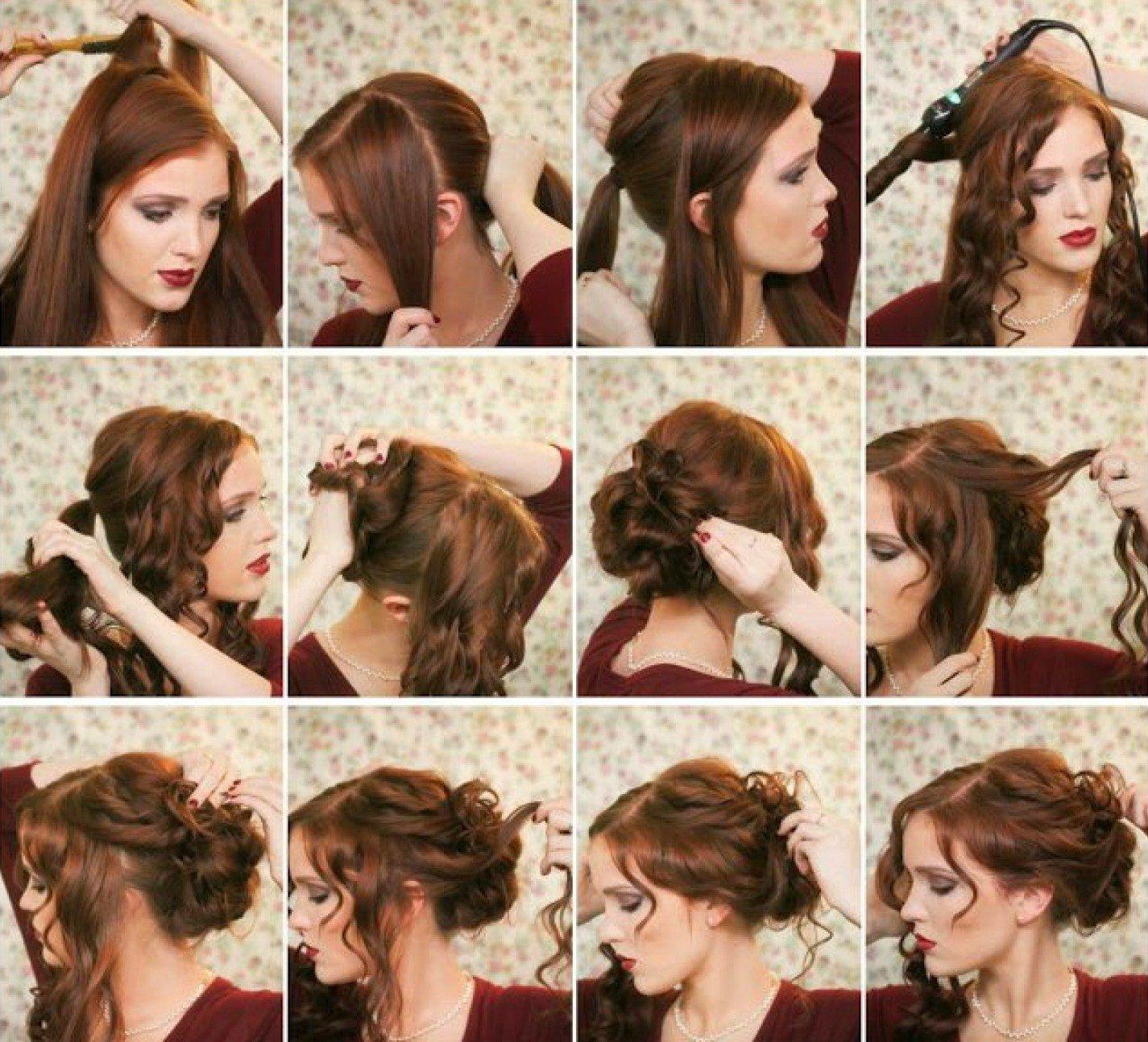 Причёски на средний длины волосы своими руками с фото