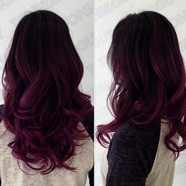 Красные пряди на чёрных волосах фото