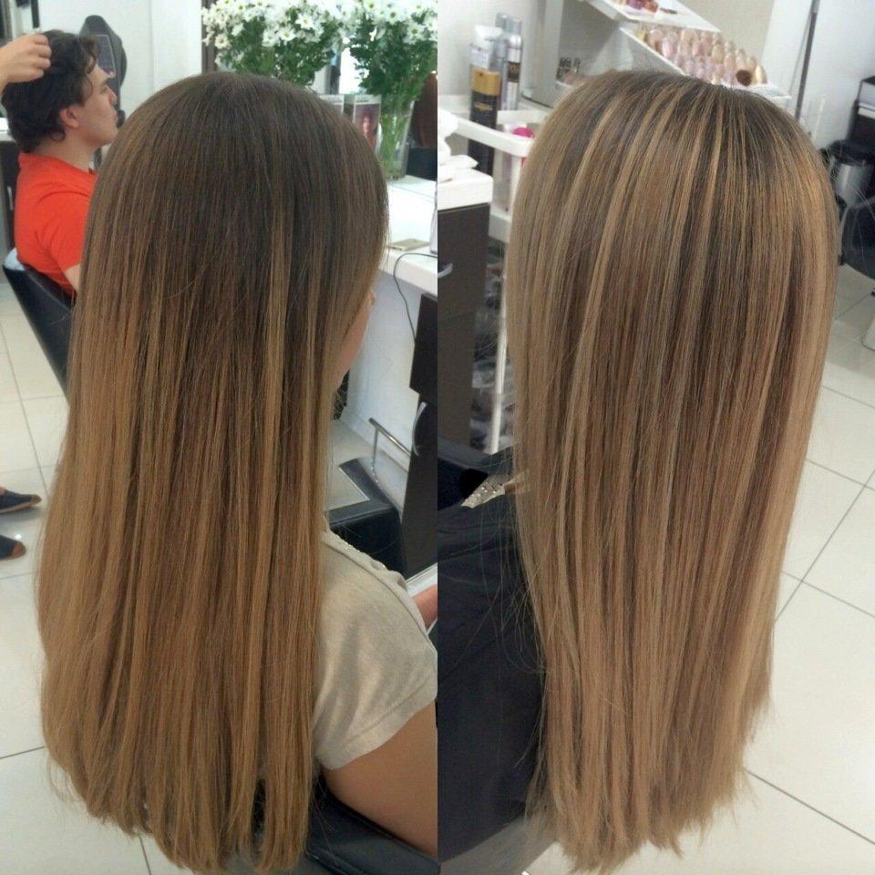Колорирование волос на тёмные волосы фото до и после