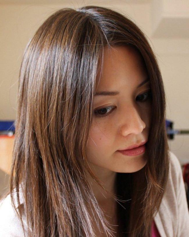 красивое мелир на ченых волосах фото