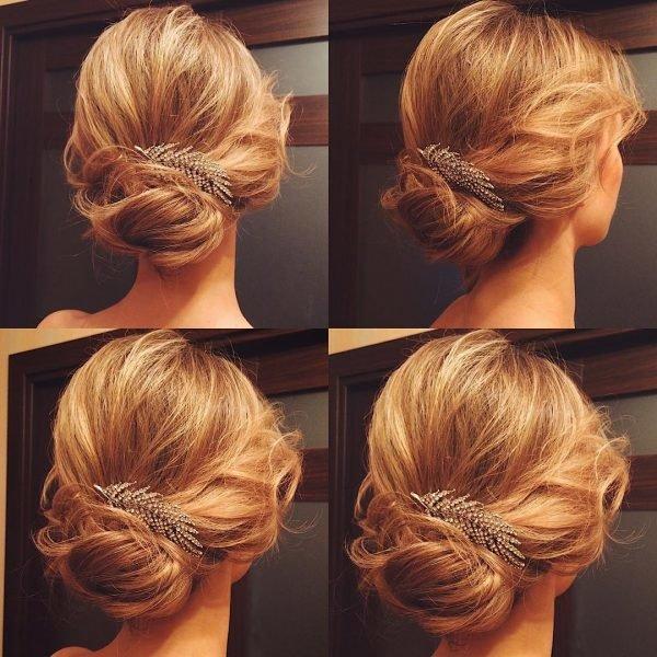 Прически на средние волосы-пучок