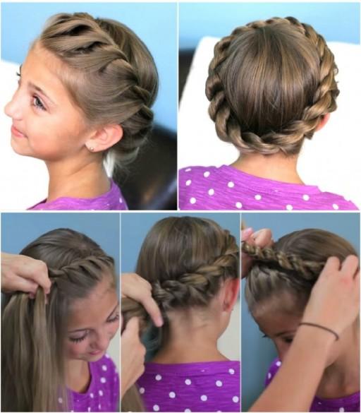 Причёска для девочки корзинка из кос
