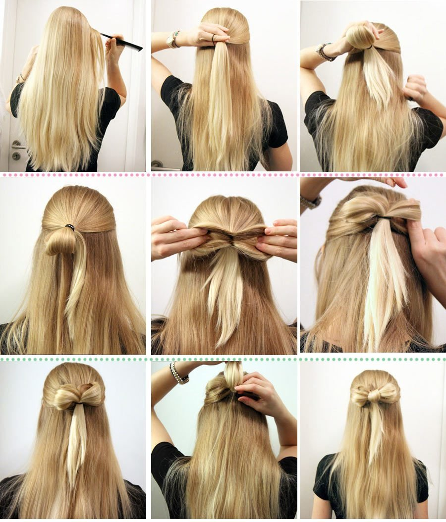 Как сделать бантик из волос пошаговая инструкция Как сделать бантик для волос поэтапно