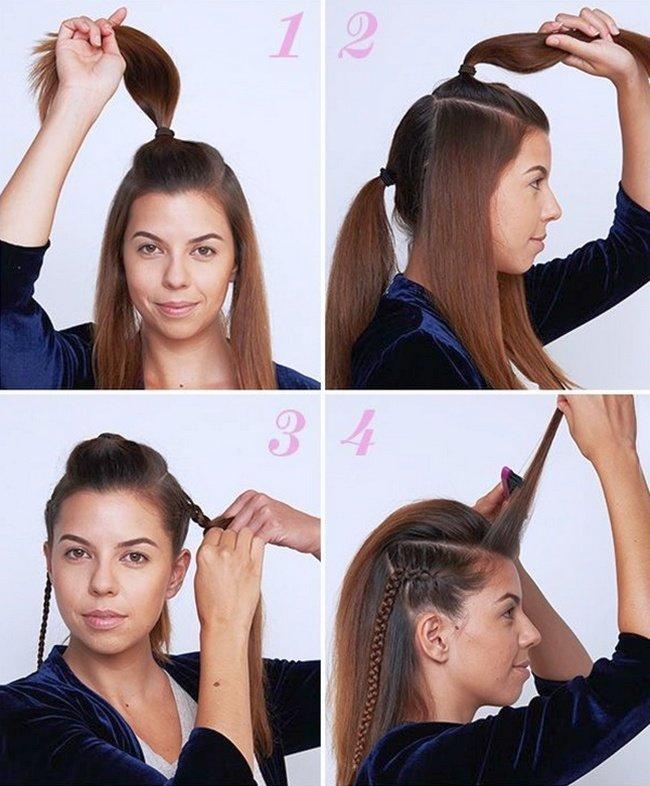 прически колосок на средние волосы пошагово