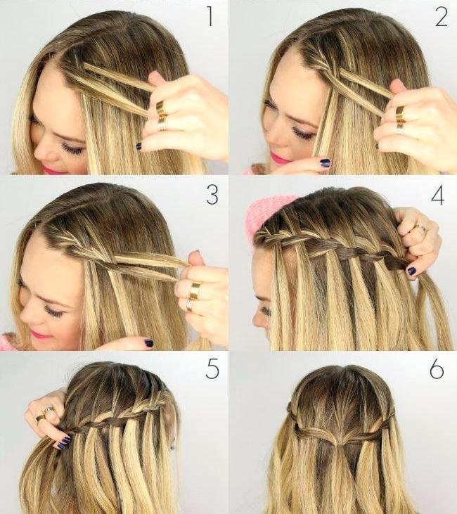 Как делать причёску водопад на себе в картинках