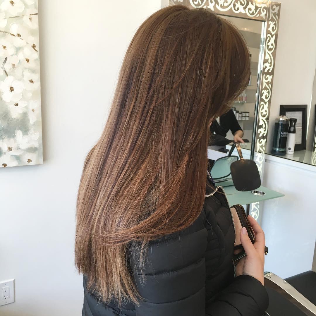 Мелирование на темно каштановый волос фото