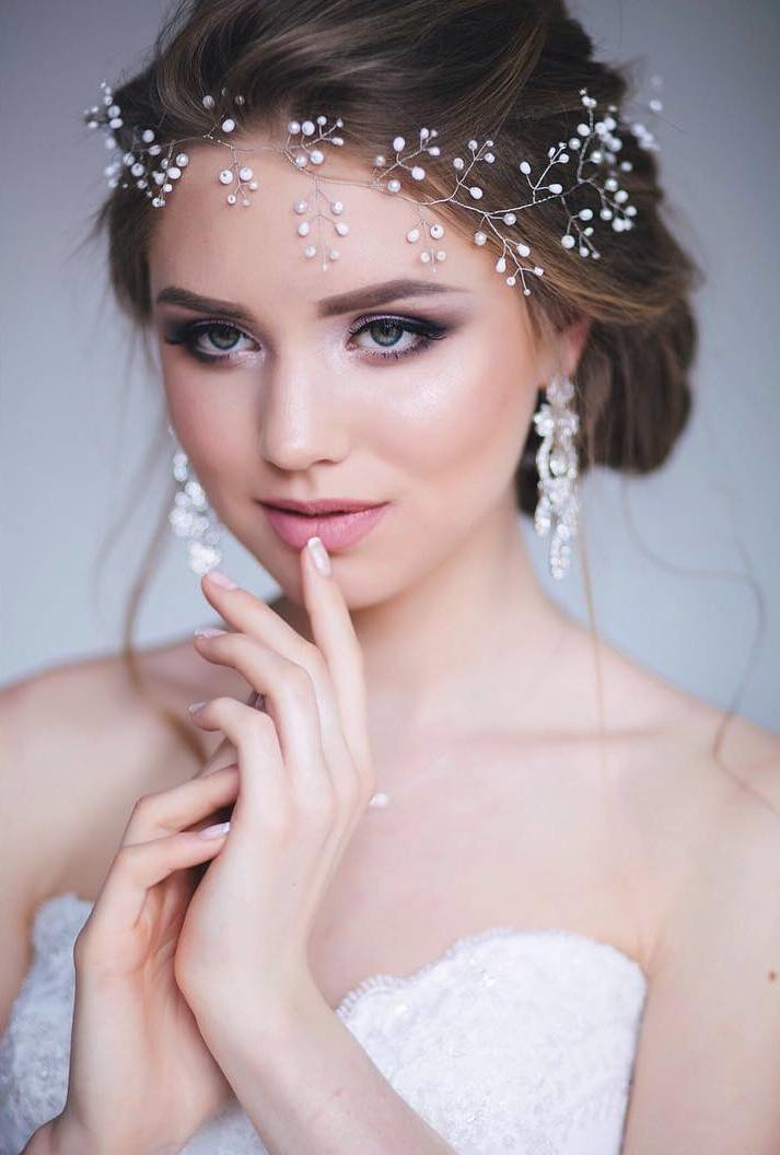 Свадебные прически на средние волосы с фатой фото без челки