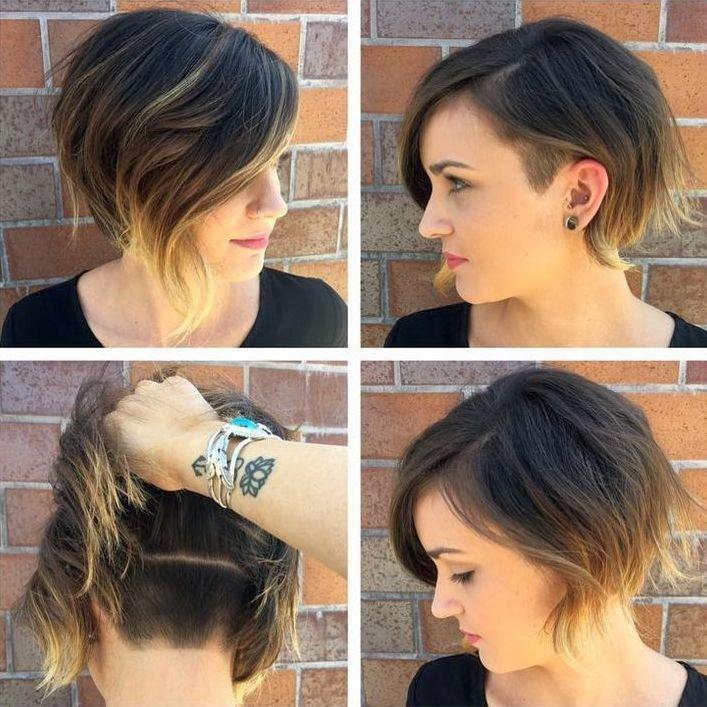 Прически на средние волосы с выбритым затылком