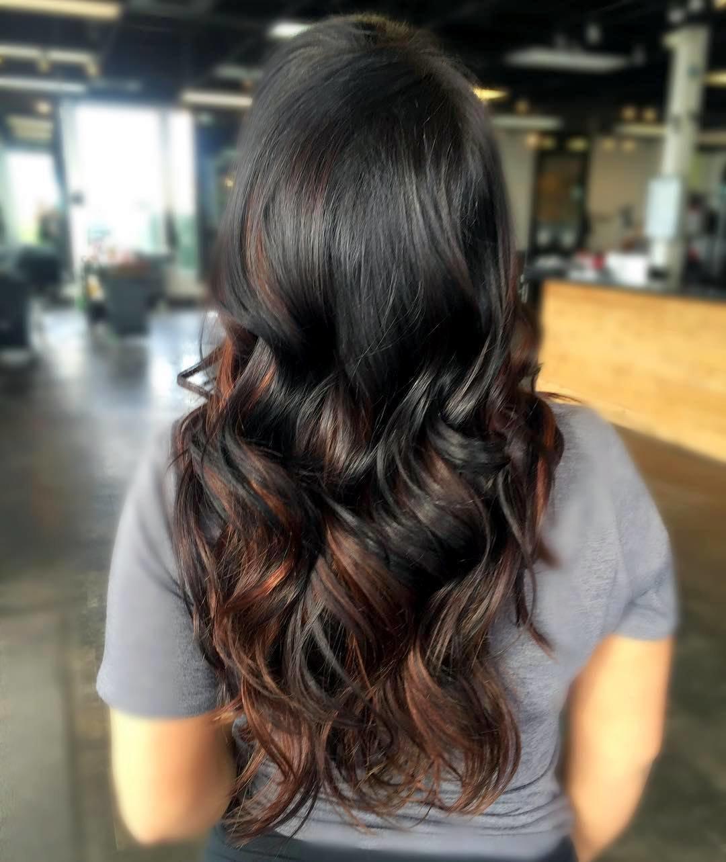 выборе колорирование волос фото на темных длинных волосах доступ