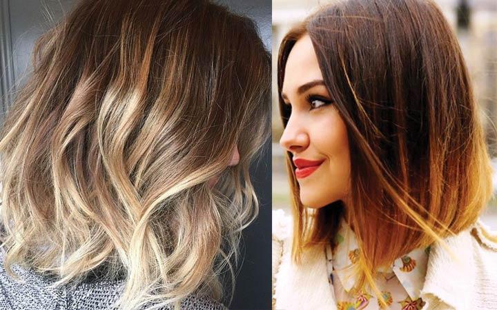 Окрас волос средней длины