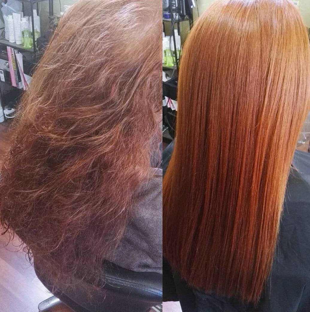 неприхотливое фото кератиновое выпрямление волос до и после то
