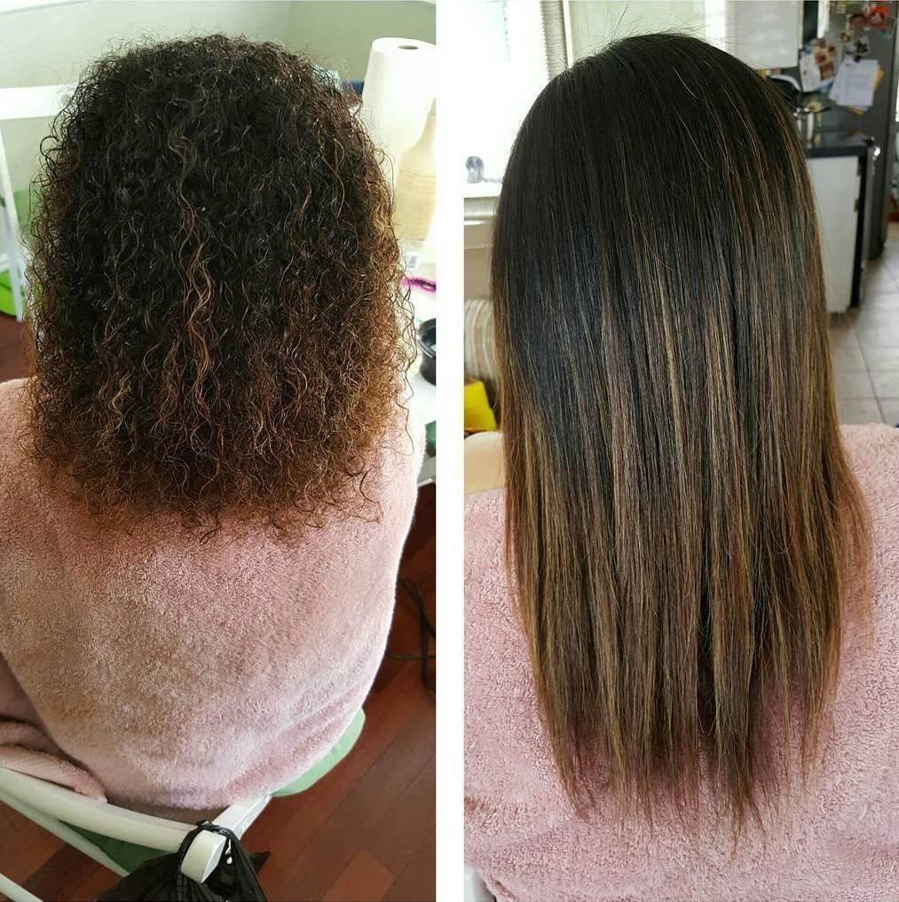 Фото кератиновое выпрямление волос до и после
