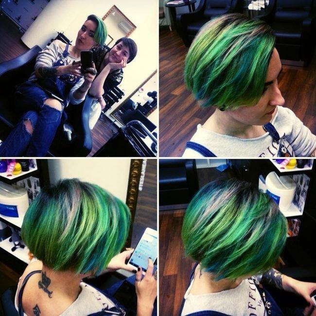 Зелёные короткие волосы
