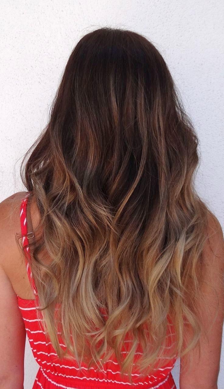 Балаяж на русые прямые волосы с челкой
