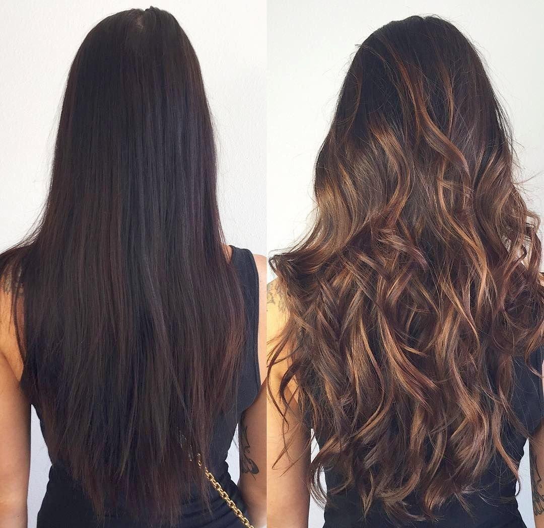 Окрашивание прядей на темных волосах