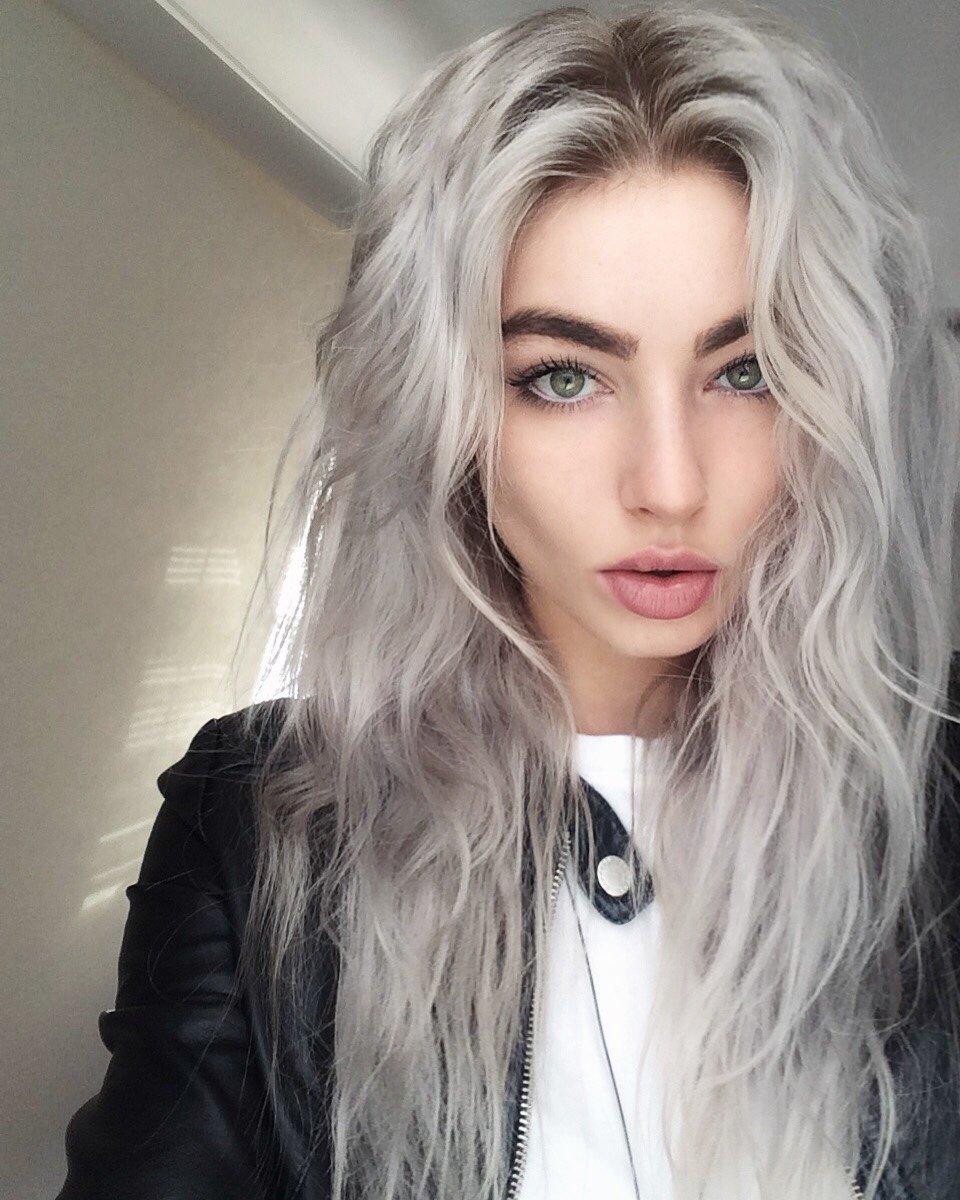 Цвет волос серо-фиолетовый фото