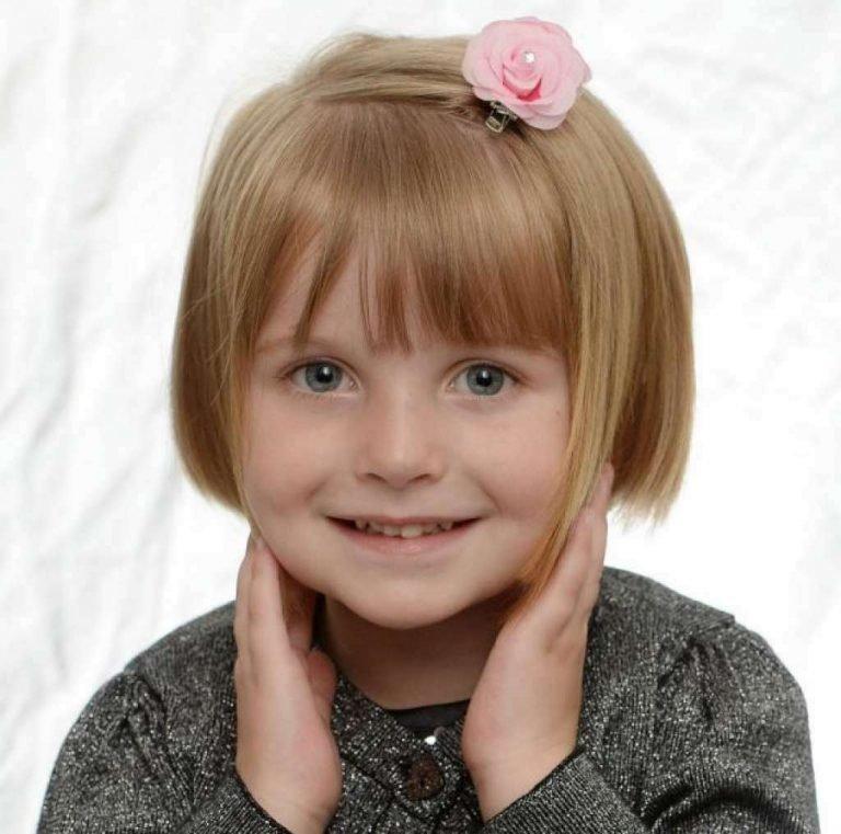 Причёска для девочки на короткие волосы с челкой