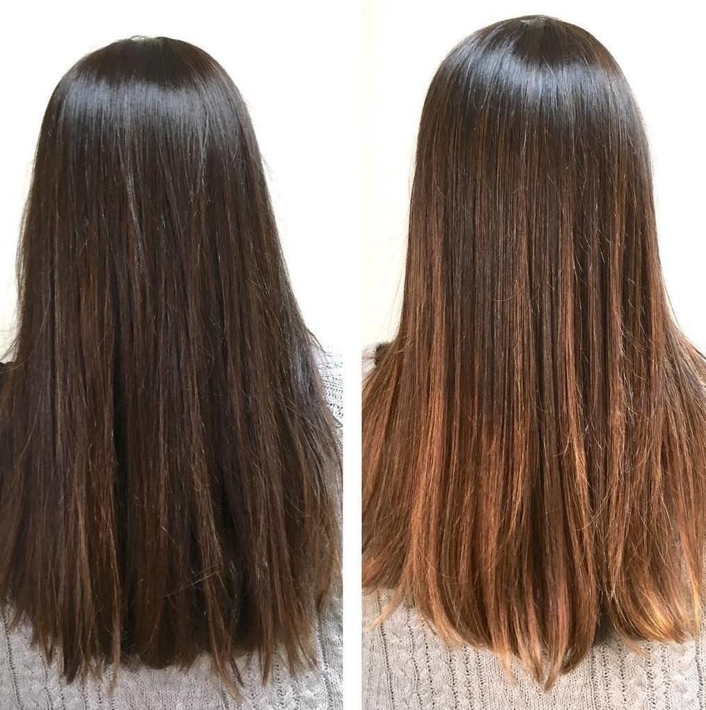 осветление темных волос фото часть