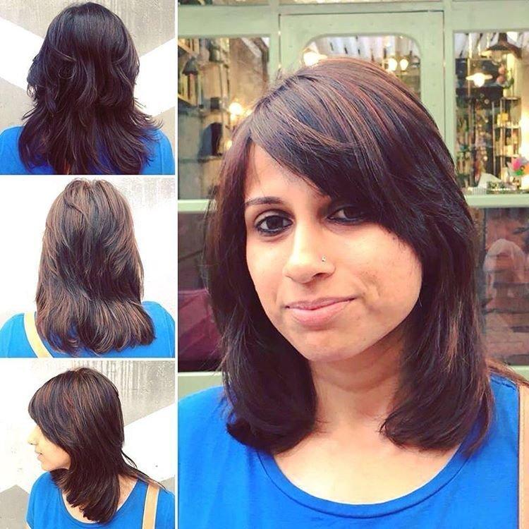Длинная челка на средние волосы фото