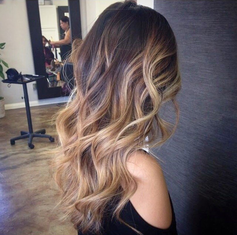 омбре на темные волосы на длинные волосы фото