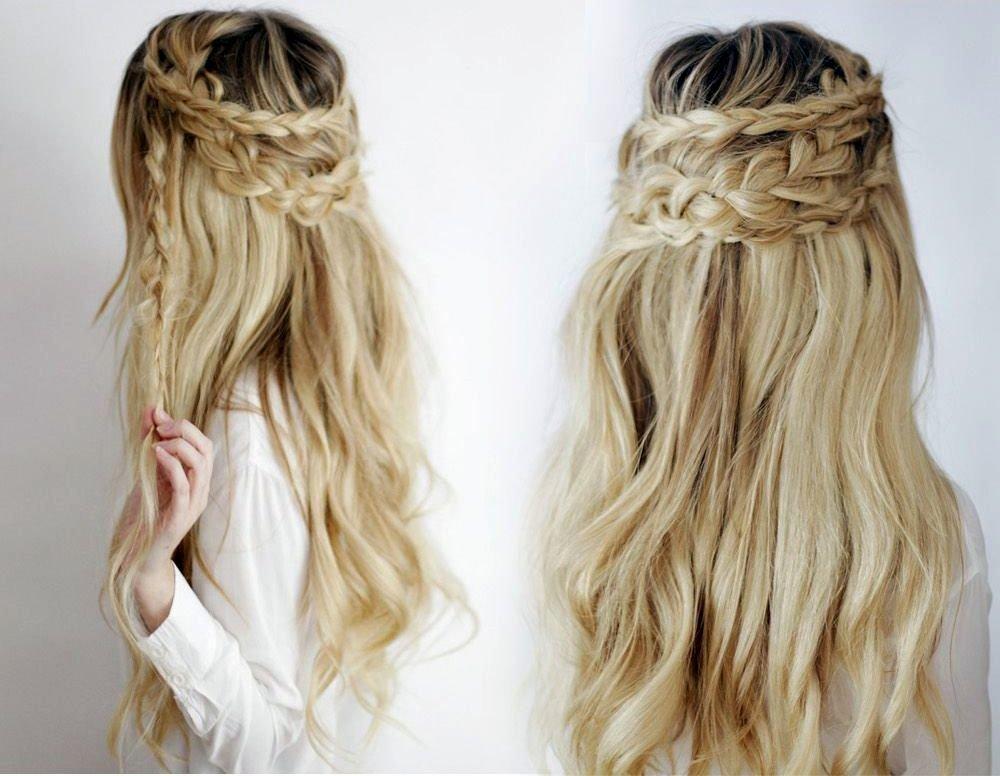 Прически из кос на распущенные волосы