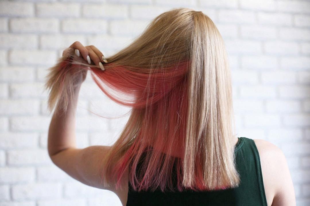 Фото покрасок волос вверх одним цветом низ другим 120