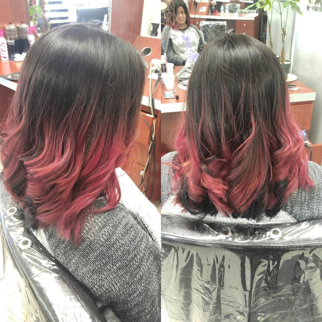 Розовые концы волос