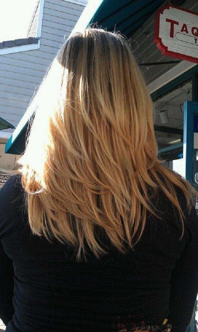 фото стрижка лесенка на длинные волосы-вид сзади