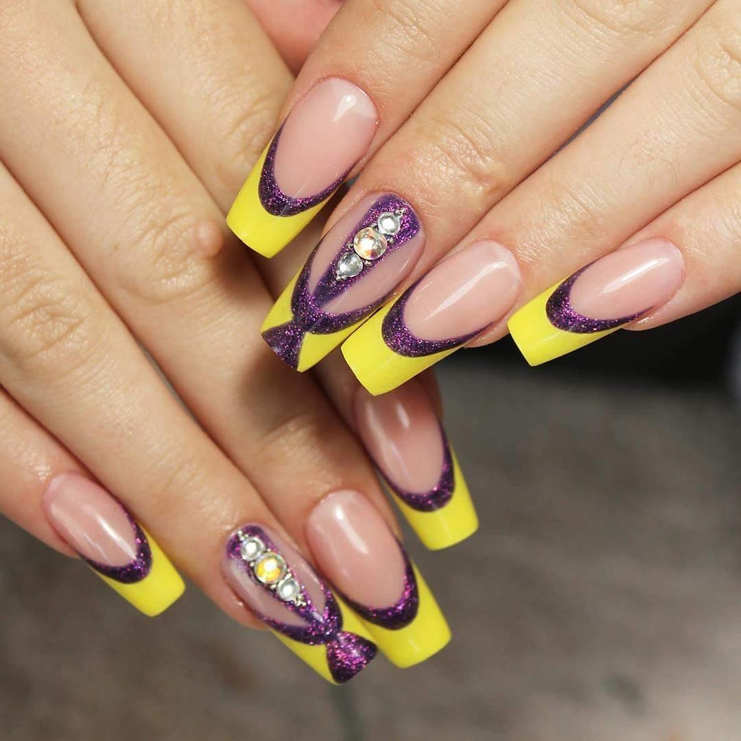 Ногти желтый френч с рисунком фото