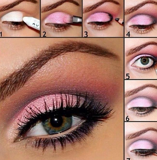 Макияж розовыми тенями для карих глаз