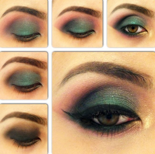 Зеленый смоки айс макияж