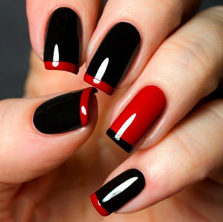 Фото дизайн ногтей черно красный и