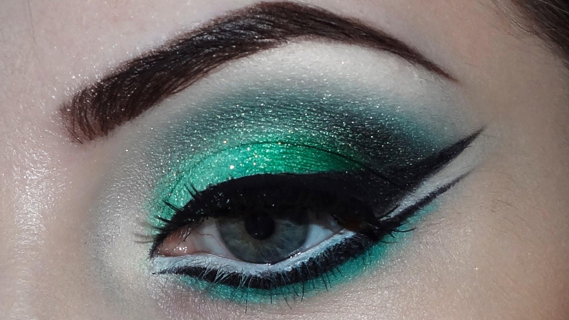 Как сделать ярко зеленые глазашоп