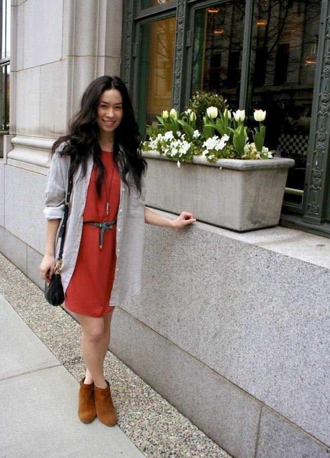 Фото рыжей девушки сзади в одежде зимой #5
