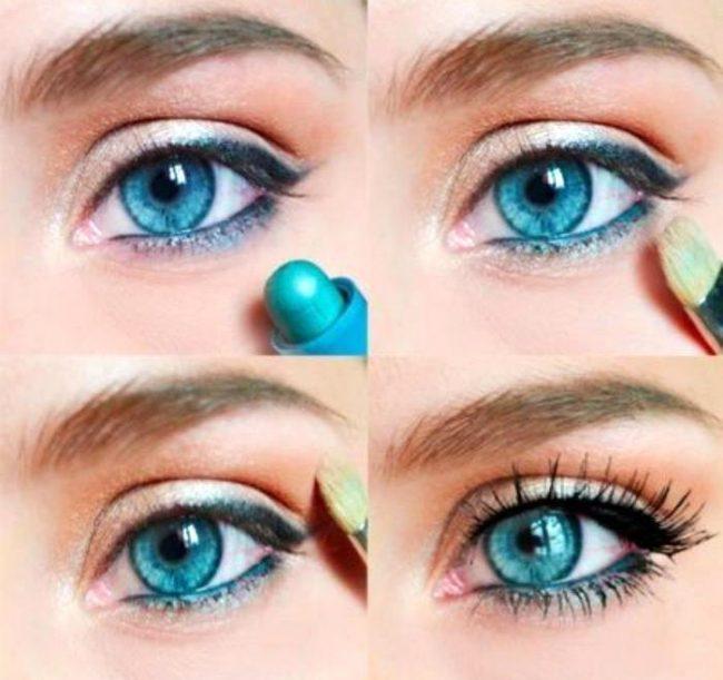 Макияж глаз пошаговое для голубых глаз