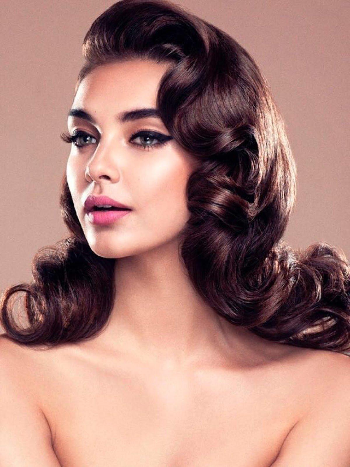 Голливудские локоны на длинные волосы с челкой женские