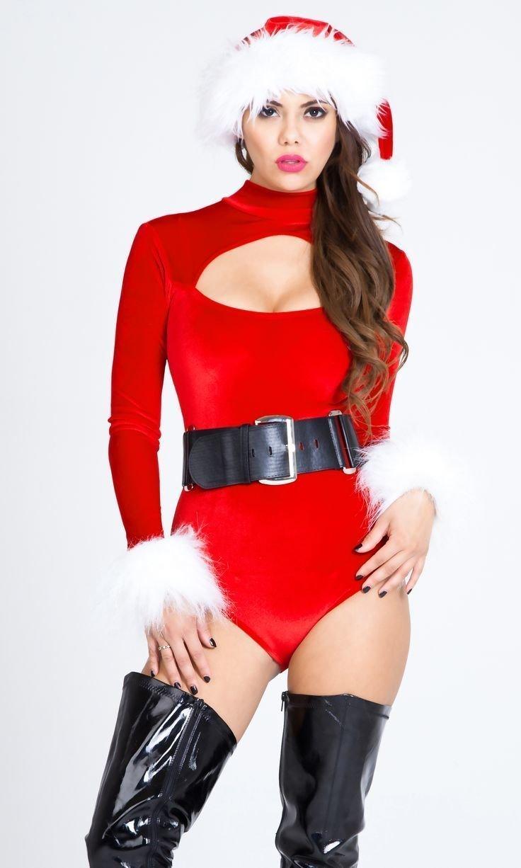 Nude female santa suit