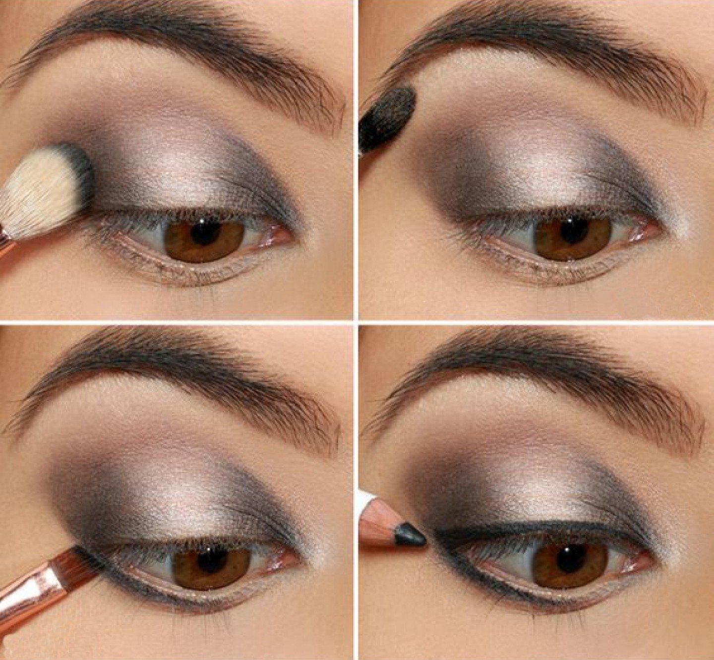 Поэтапно макияж вечерний для серых глаз