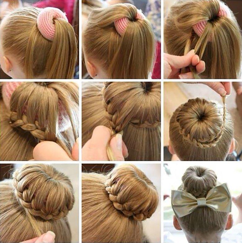 Прически для девочек на средние волосы поэтапно на каждый день