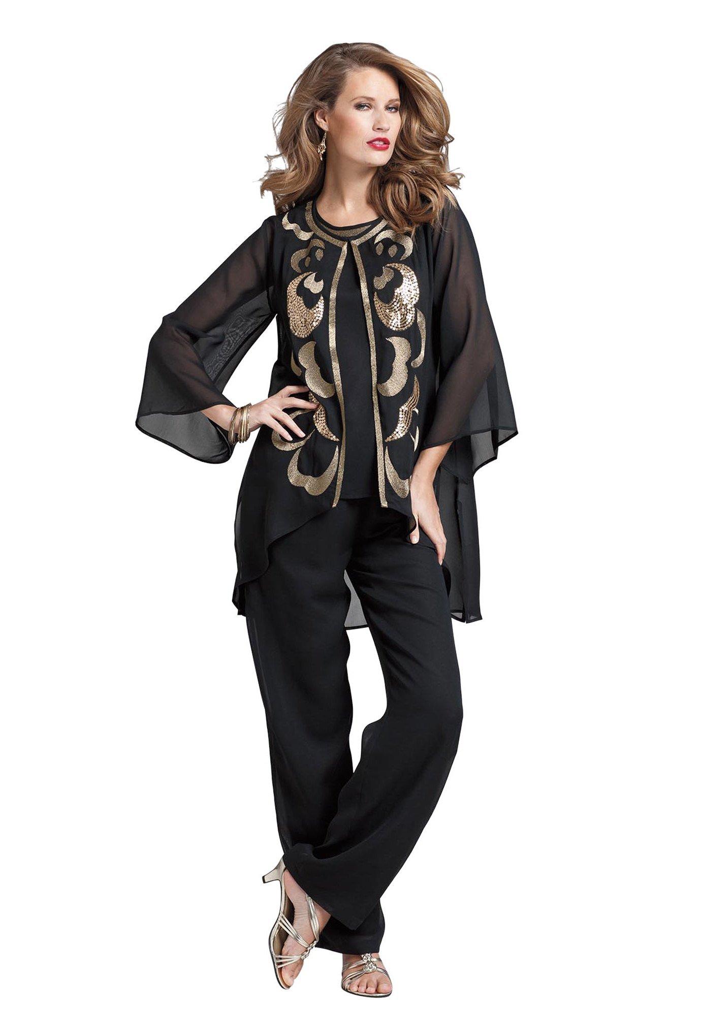 Вечерние брючные костюмы для полных женщин купить