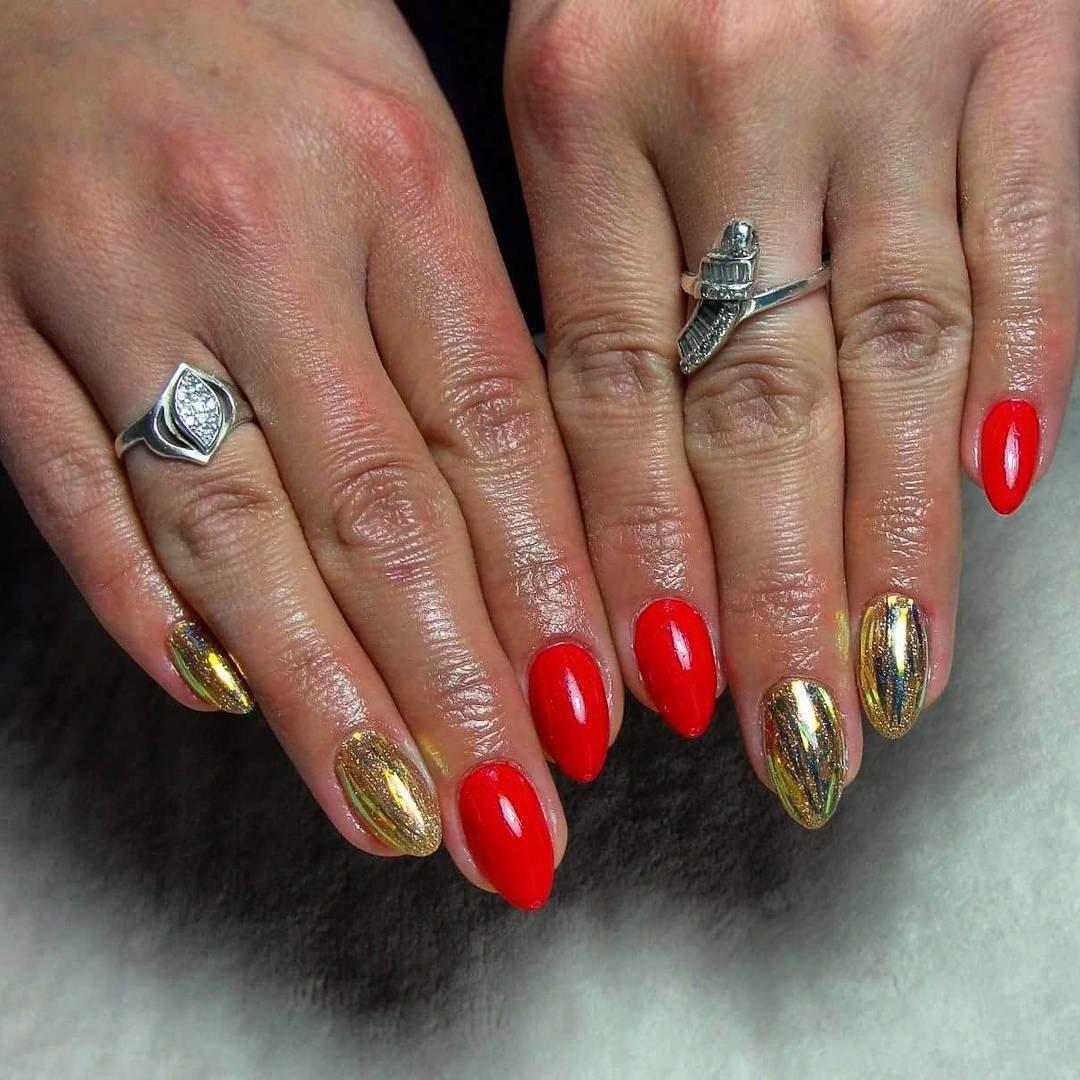 Дизайн красных нарощенных ногтей 2018 фото новинки