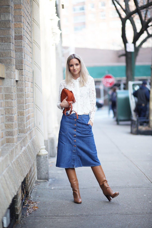 С чем носить джинсовую юбку: 10 вариантов новые фото