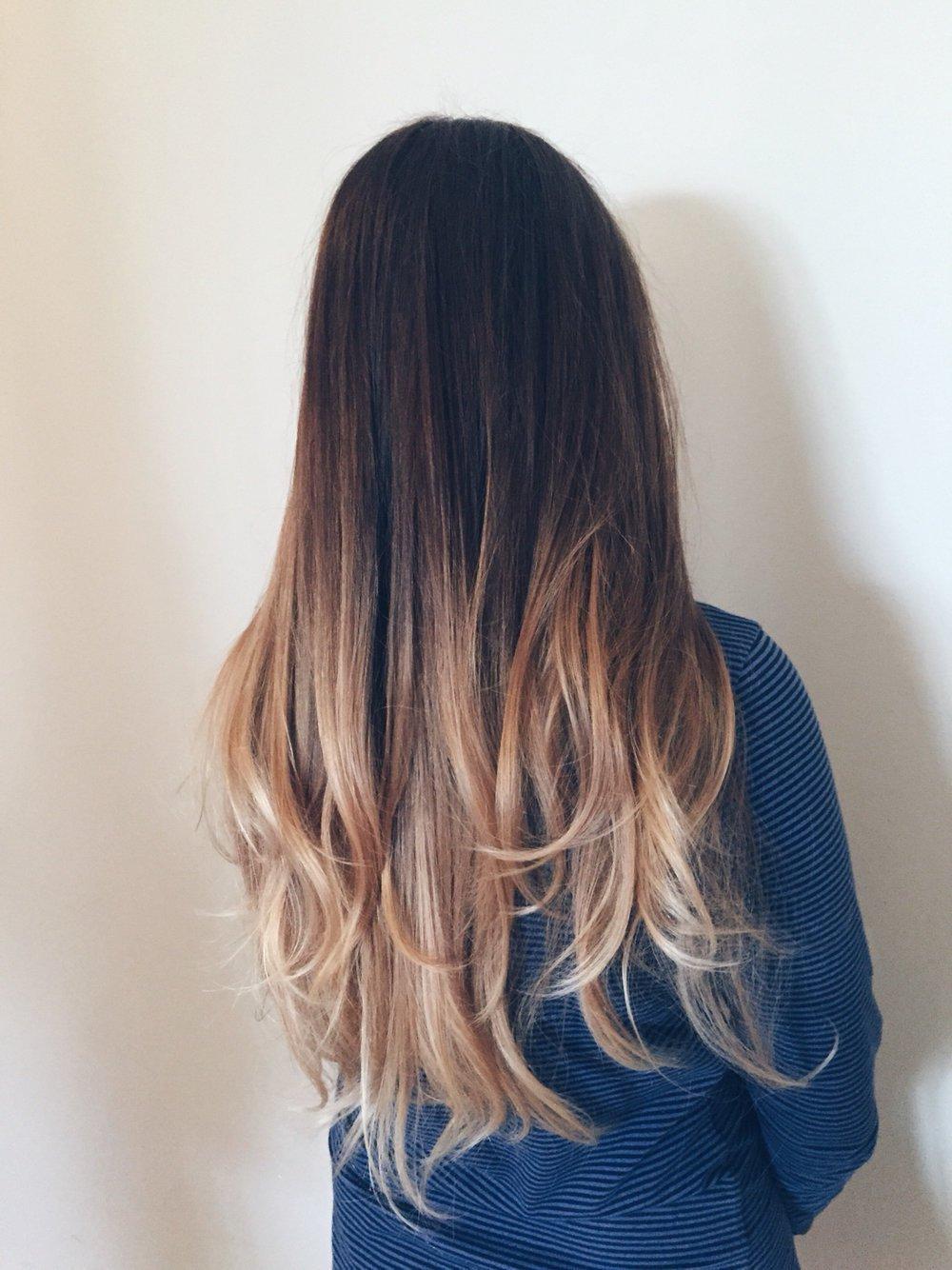 Омбре на каштановые волосы