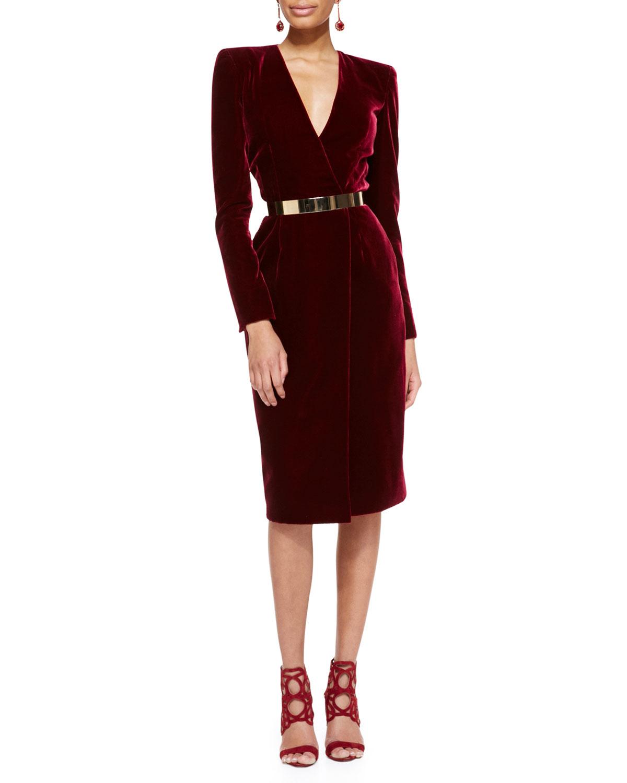 oscar-de-la-renta-purple-long-sleeve-velvet-crossover-dress-product-1-18268833-0-688874268-normal Платья из бархата. Фасоны и фото: для молодежи, полных женщин, беременных, в стиле бохо, длинные, короткие, трапеция, кружева, велюр, тренды моды 2019