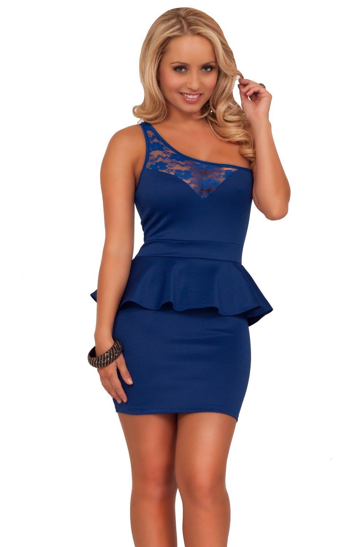 sleeveless-one-strap-lace-panel-sweetheart-peplum-party-cocktail-short-dress-71 Модные образы в платье с баской