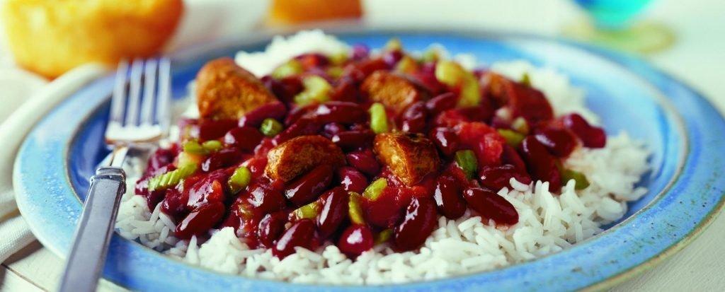 Фасоль с овощами и рисом