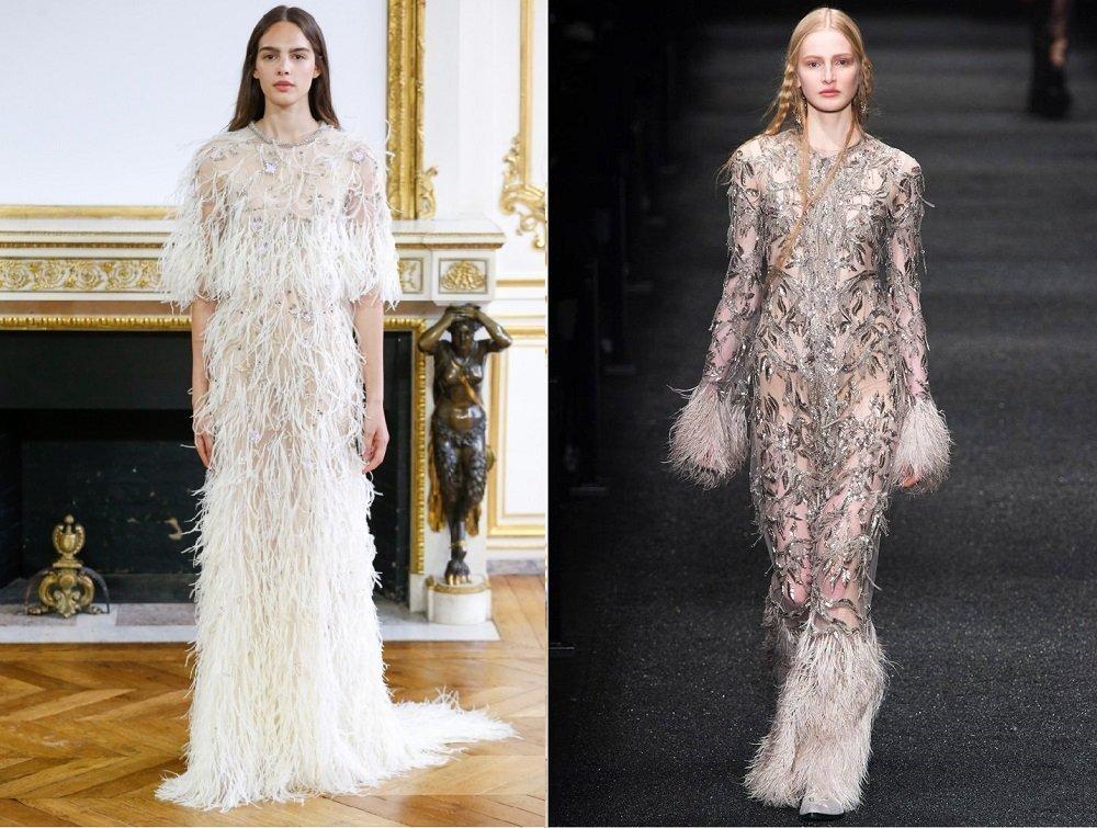 Два платья с декором из перьев