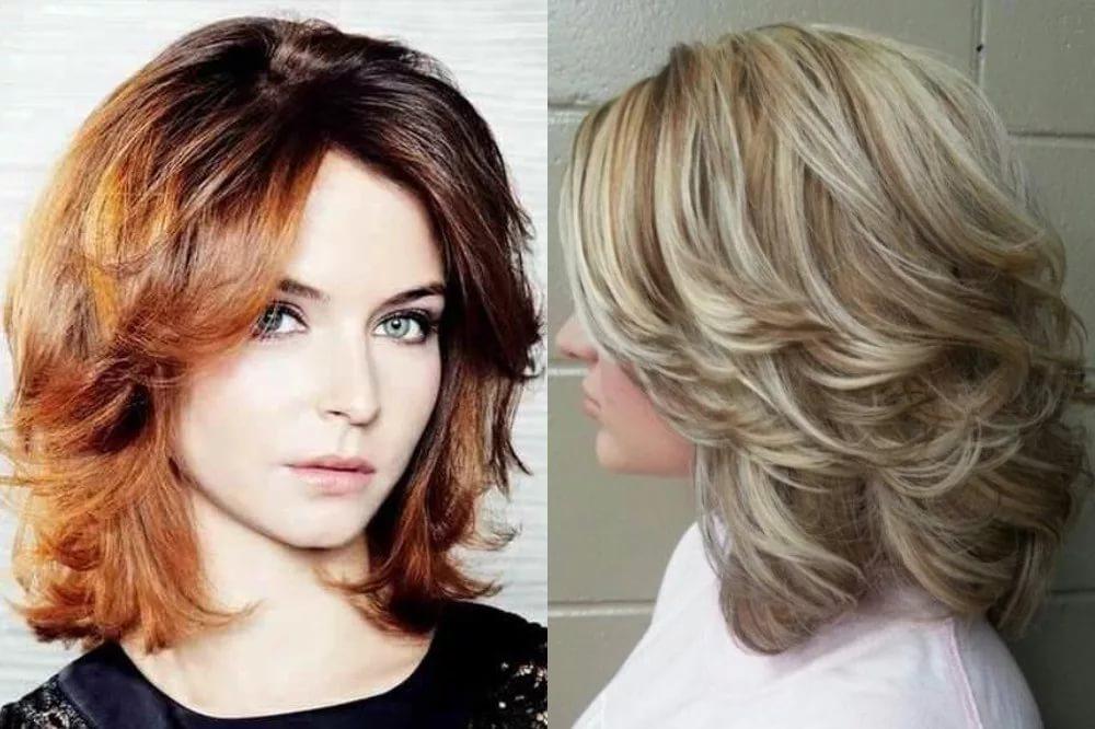Каскад на средние волосы