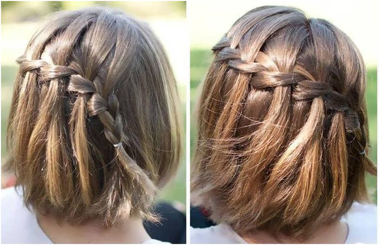Французская коса на коротких волосах