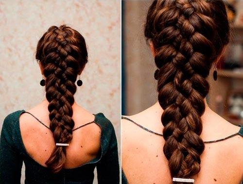 Колосок из 5 прядей на длинные волосы